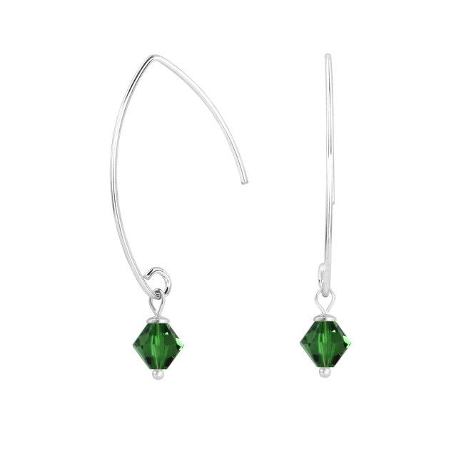 Oorbellen groen Swarovski kristal 925 zilver - 1914