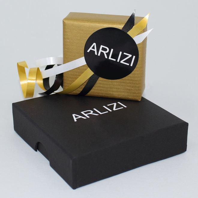 Ketting zwart Swarovski kristal octagon hanger - sterling zilver verguld - ARLIZI 1920 - Audrey