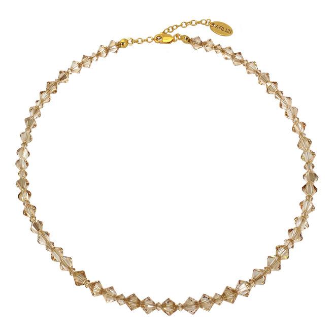 Ketting goudkleurig Swarovski kristal - sterling zilver verguld - ARLIZI 1909 - Coco