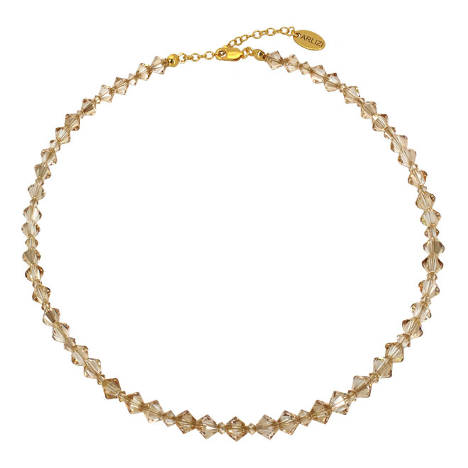 Necklace gold-coloured Swarovski crystal - sterling silver gold plated - ARLIZI 1909 - Coco
