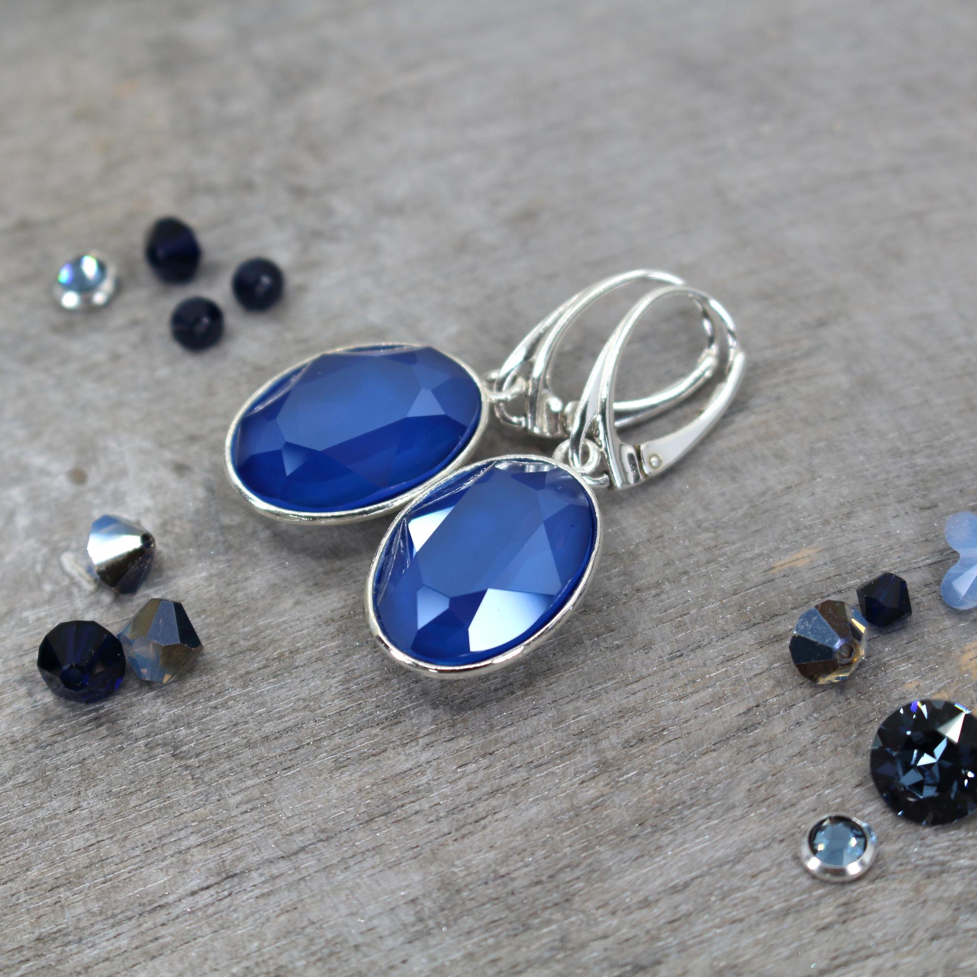 ARLIZI Schmuck Ohrringe blau Swarovski Kristall Sterling Silber