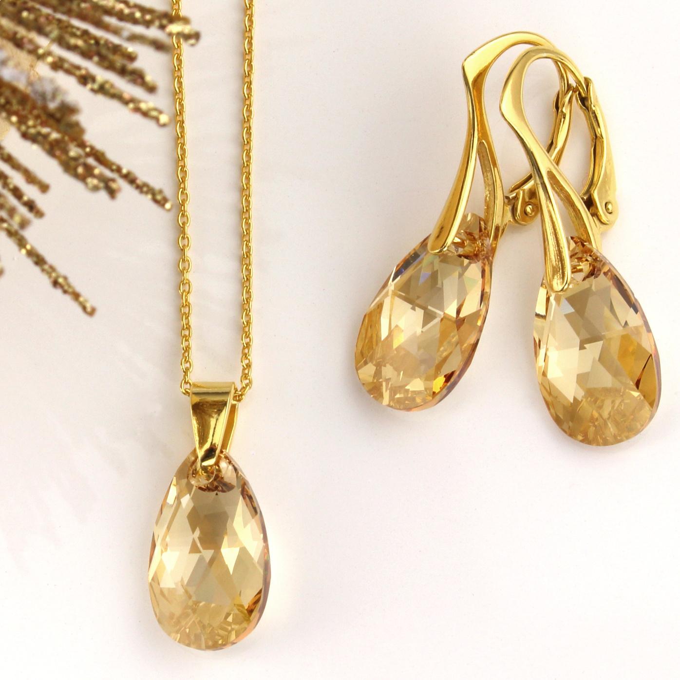 ARLIZI Schmuck Geschenk-Set Swarovski Kristall Sterling Silber vergoldet