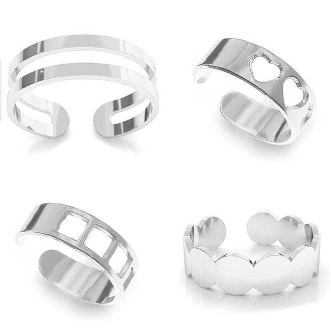 Ring set four knuckle rings - sterling silver - 1387