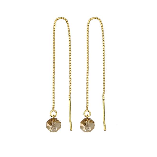 Durchzieher Ohrringe Swarovski Kristall octagon - Sterling Silber vergoldet - ARLIZI 1916 - Audrey