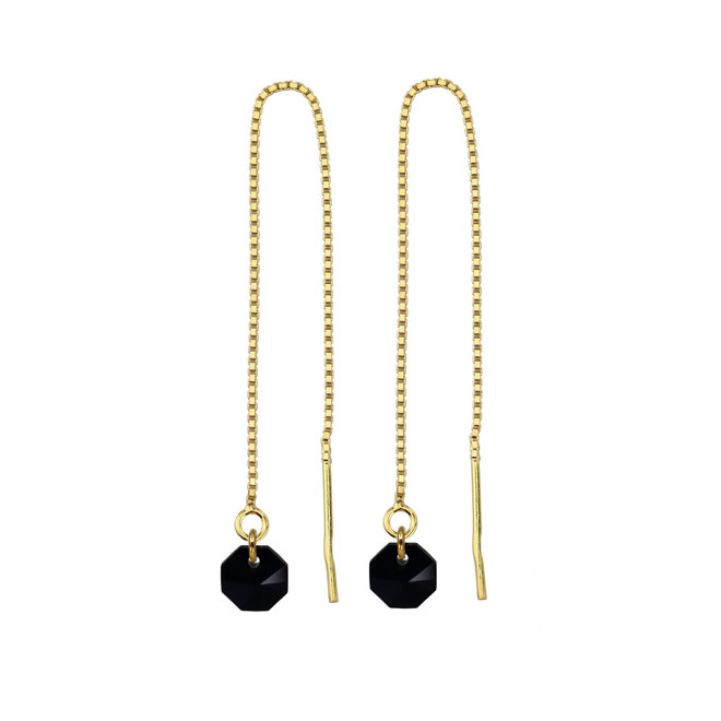 Earrings pull through black Swarovski crystal octagon - sterling silver gold plated - ARLIZI 1917 - Audrey