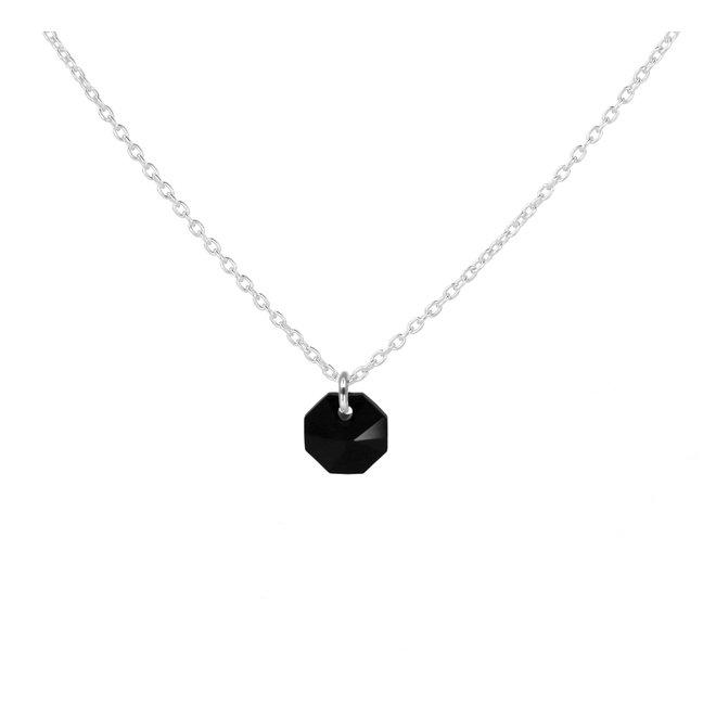 Ketting zwart Swarovski kristal hanger 925 zilver - 1918