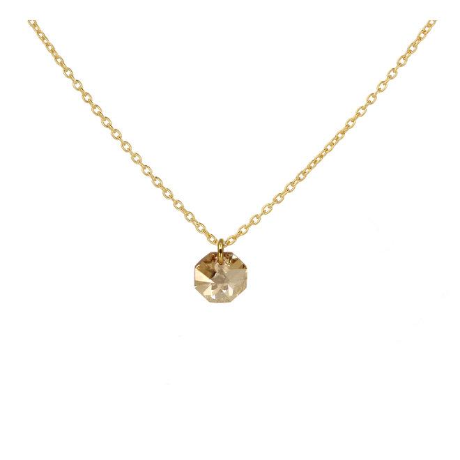 Necklace Swarovski crystal octagon pendant - sterling silver gold plated- ARLIZI 1919 - Audrey