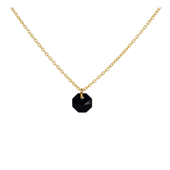 Halskette schwarz Swarovski Kristall Octagon Anhänger - Sterling Silber vergoldet - ARLIZI 1920 - Audrey