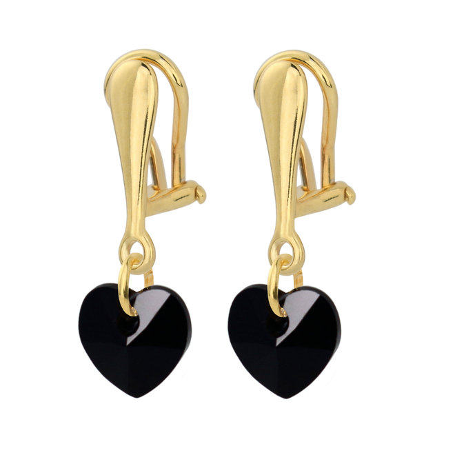 Clip on earrings black crystal heart - 925 silver gold plated - 1926