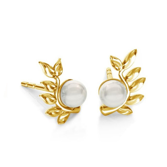Earrings leaf pearl - sterling silver gold plated - 1930