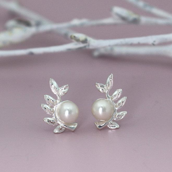 Ohrringe Blatt Perle weiß - 925 Sterling Silber - ARLIZI 1929 - Viv