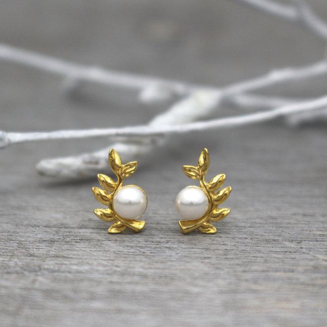 Ohrringe Blatt Perle weiß - 925 Sterling Silber vergoldet- ARLIZI 1930 - Viv