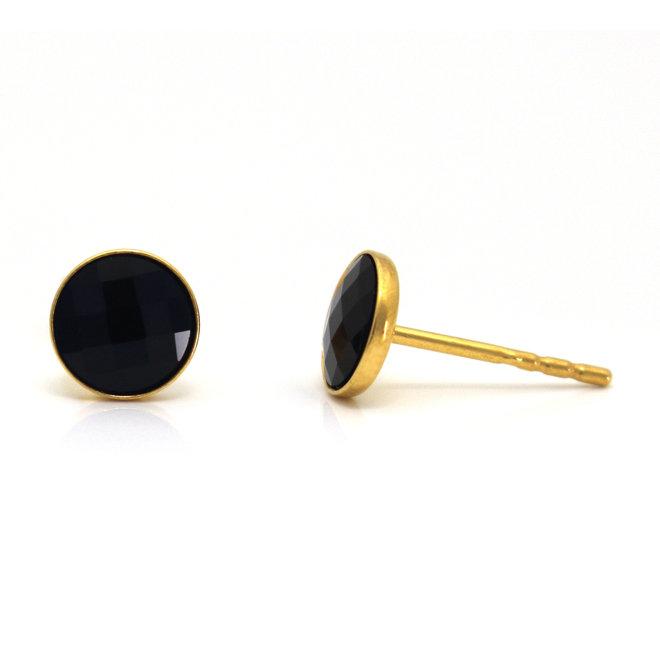 Oorbellen zwart kristal - 925 zilver verguld - 1797