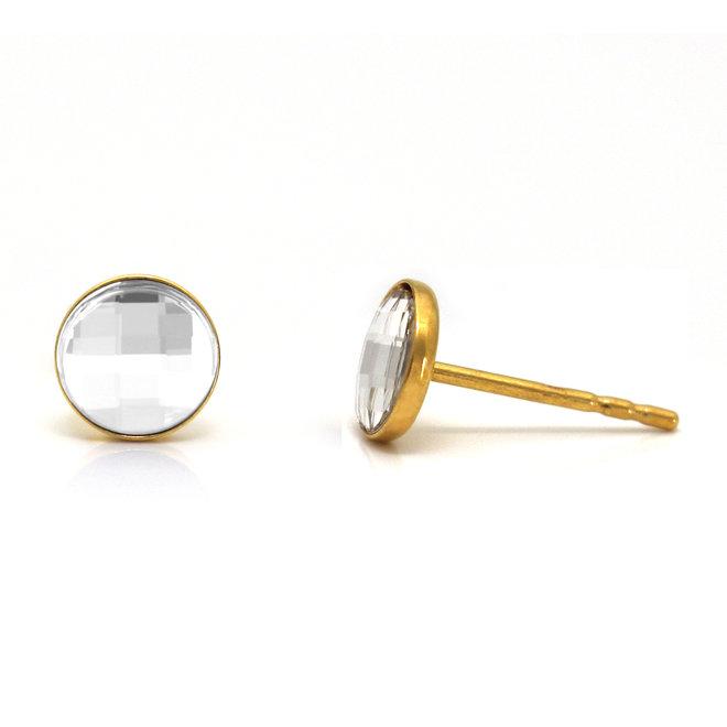 Oorbellen transparant Swarovski kristal oorstekers - sterling zilver verguld - ARLIZI 1800 - Joy