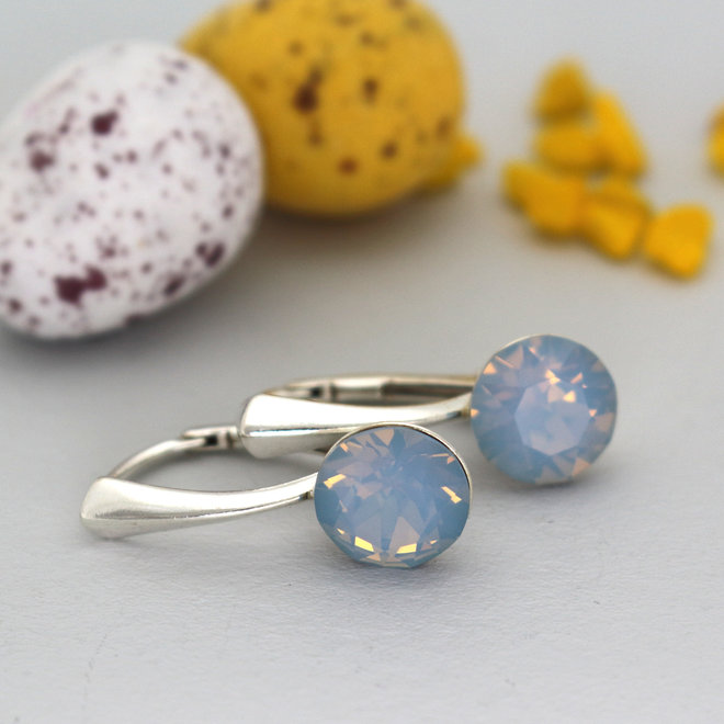 Oorbellen blauw opaal Swarovski kristal 8mm - sterling zilver - ARLIZI 1283 - Lucy