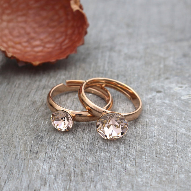 Ring champagnekleurig Swarovski kristal 6mm - rosé verguld zilver - ARLIZI 1476 - Lucy