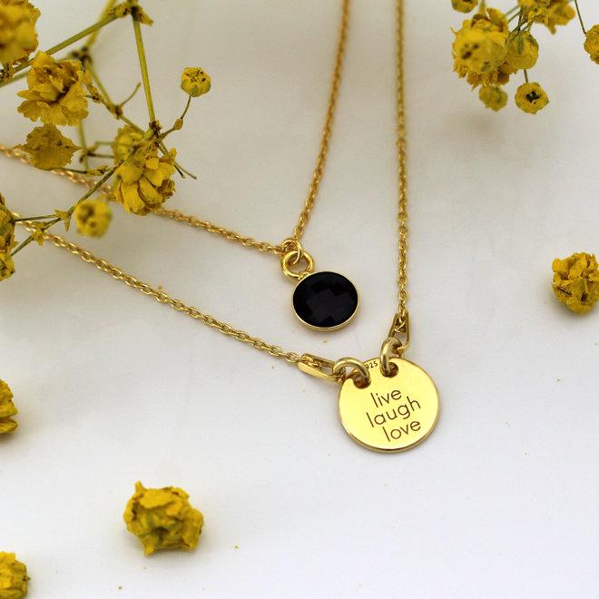 Halskette live laugh love Charme Anhänger - Silber vergoldet - ARLIZI 1447 - Kendal