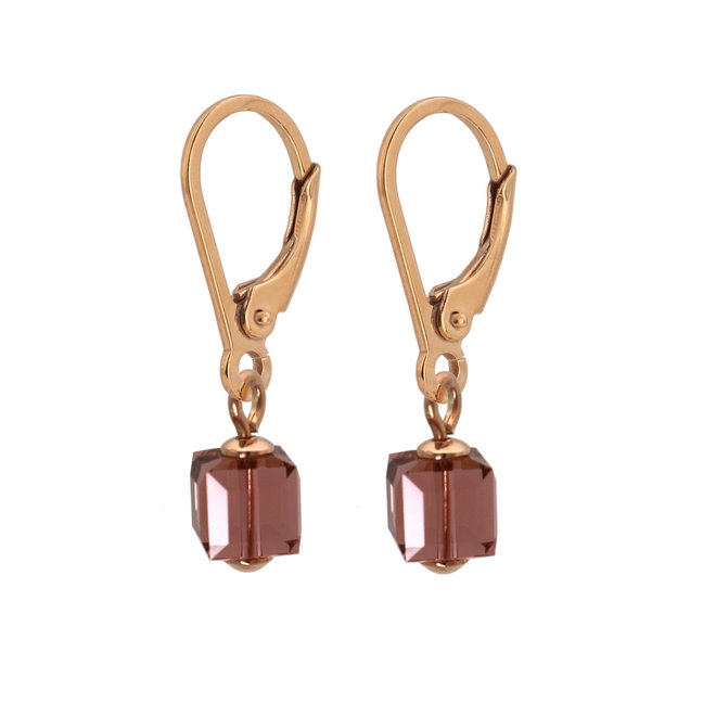 Ohrringe Swarovski Kristall Würfel rosa - Sterling Silber rosévergoldet - ARLIZI 1744 - Kyra