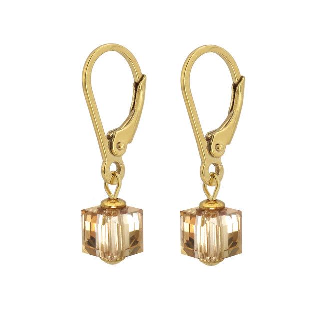 Ohrringe Swarovski Kristall Würfel - Sterling Silber vergoldet - ARLIZI 1740 - Kyra