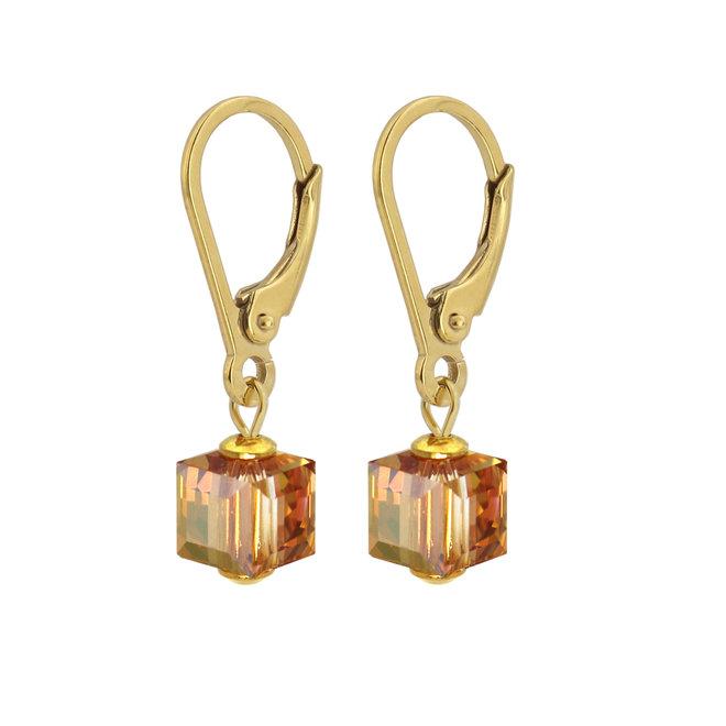 Oorbellen Swarovski kristal kubus - sterling zilver verguld - ARLIZI 1742 - Kyra