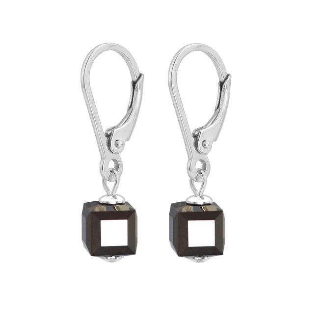 Oorbellen Swarovski kristal zwart - sterling zilver - 1746