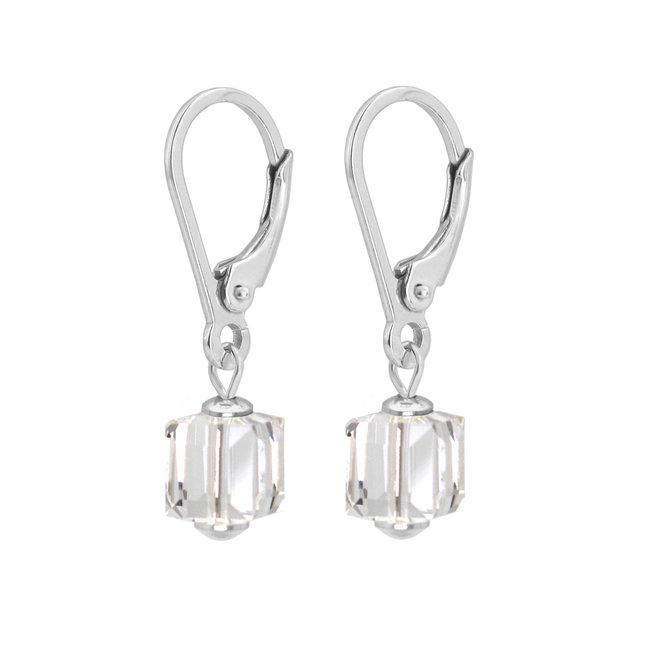 Oorbellen Swarovski kristal kubus transparant - sterling zilver - ARLIZI 1748 - Kyra