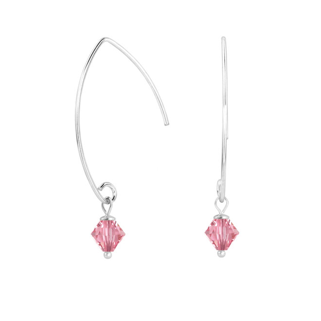 Oorbellen roze Swarovski kristal 925 zilver - 1941