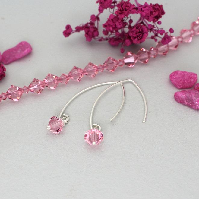 Ketting roze Swarovski kristal - sterling zilver - ARLIZI 1939 - Coco