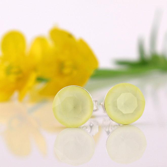 Oorbellen pastel geel Swarovski kristal oorstekers 8mm - zilver - ARLIZI 1517 - Lucy