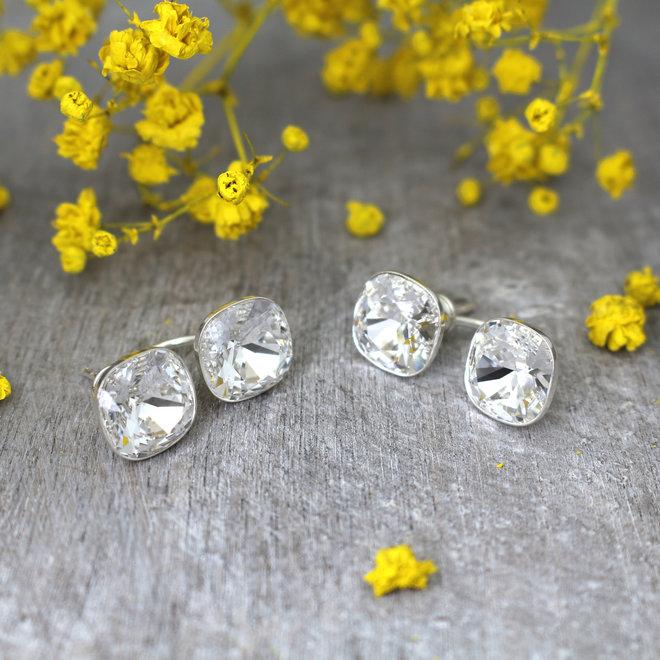 Oorbellen transparant Swarovski kristal double stone - sterling zilver - ARLIZI 1902 - Isabel