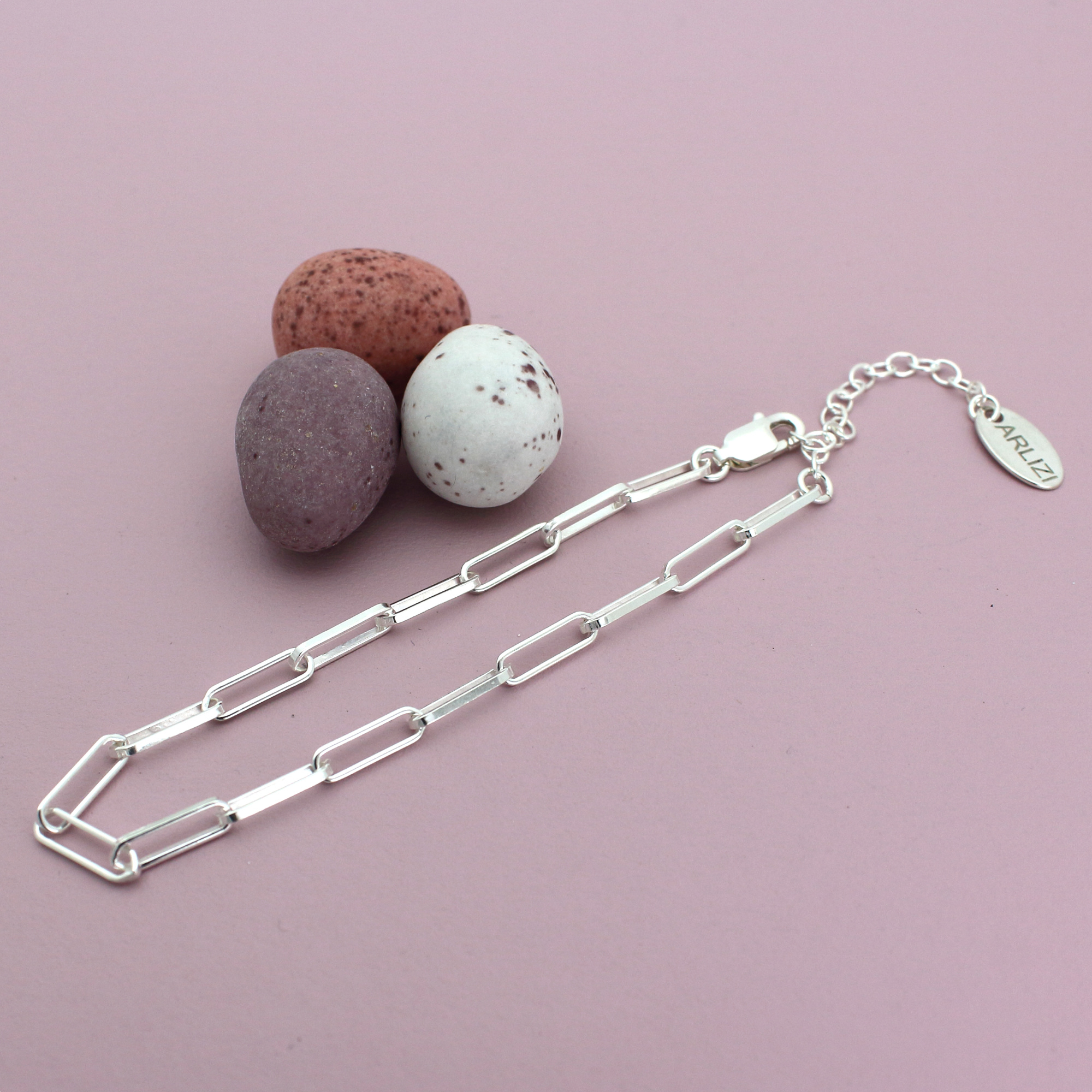 ARLIZI Sieraden chunky schakelarmband sterling zilver