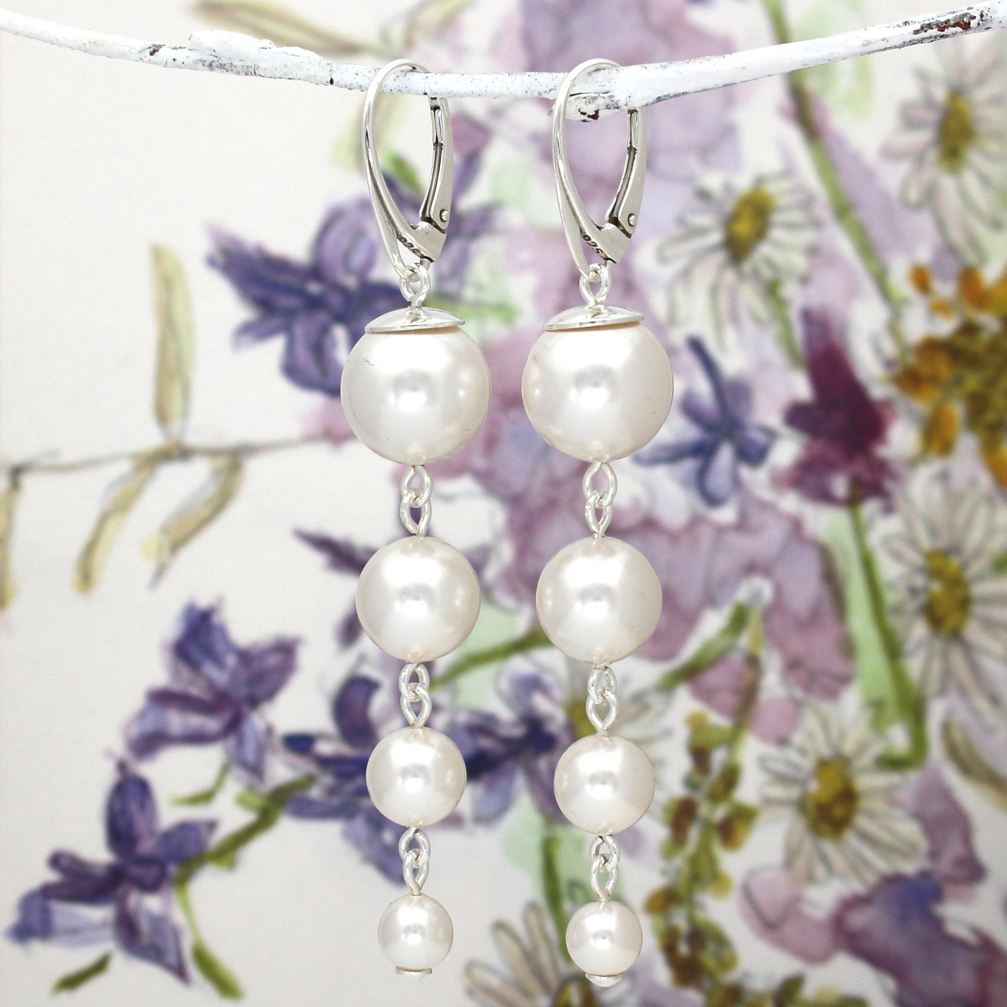 ARLIZI Schmuck weiße Perle Ohrringe Sterling Silber