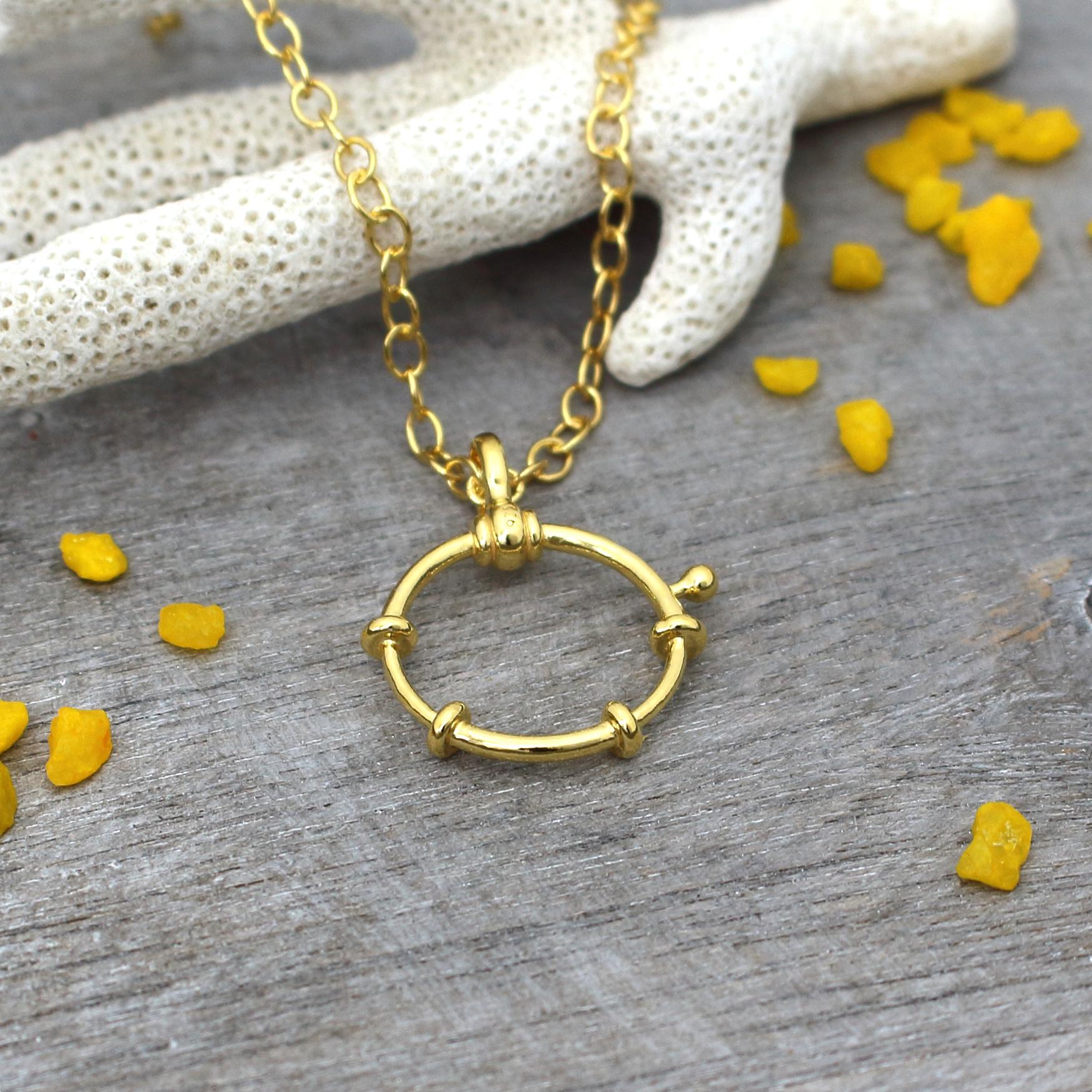 ARLIZI Schmuck Halskette Ruder Anhänger Sterling Silber vergoldet