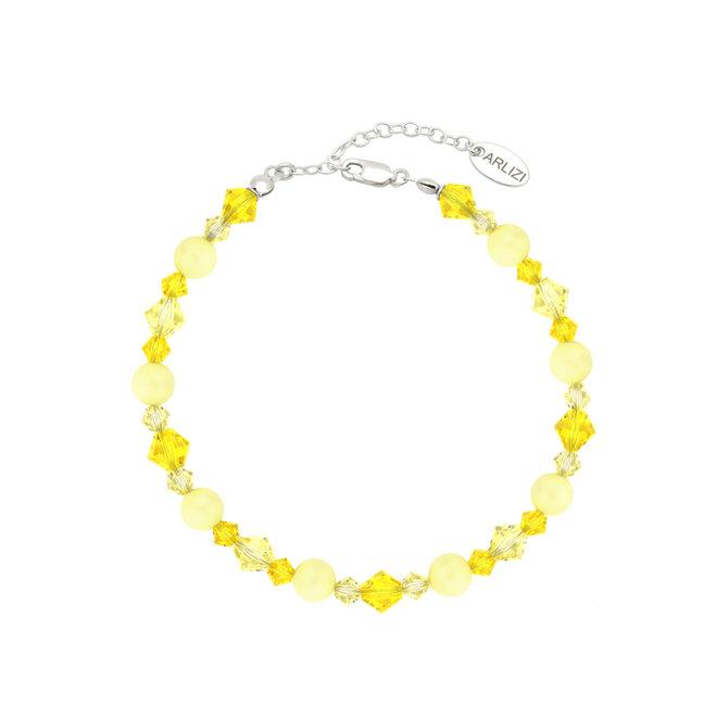 Armband Perle Swarovski Kristall gelb - Sterling Silber - ARLIZI 1945 - Grace