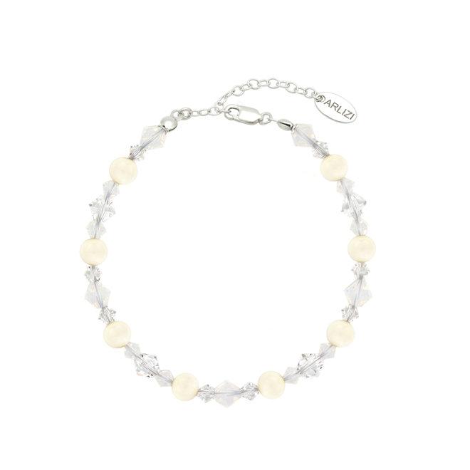 Armband parels kristal wit - sterling zilver - 1947