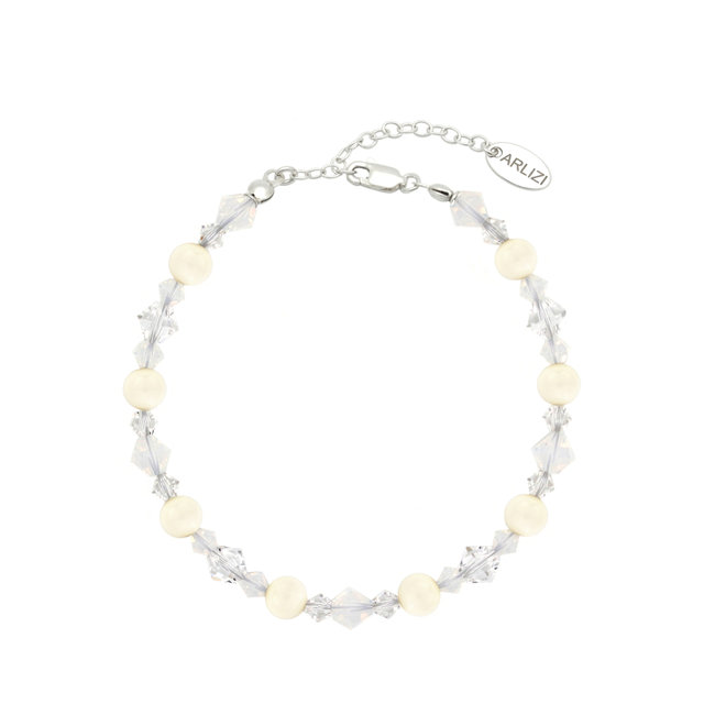 Armband Perle Swarovski Kristall weiß - Sterling Silber - ARLIZI 1947 - Grace