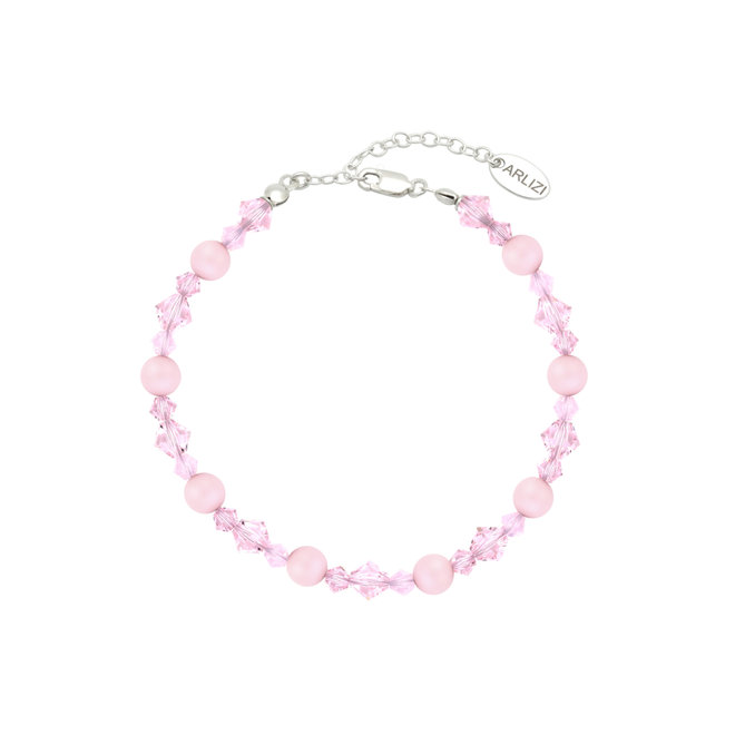 Armband Perle Kristall rosa - Sterling Silber - 1949