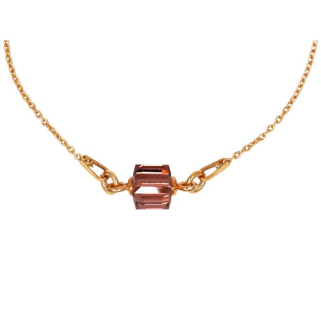 Halskette Kristall Würfel 925 Silber rosévergoldet - 1950