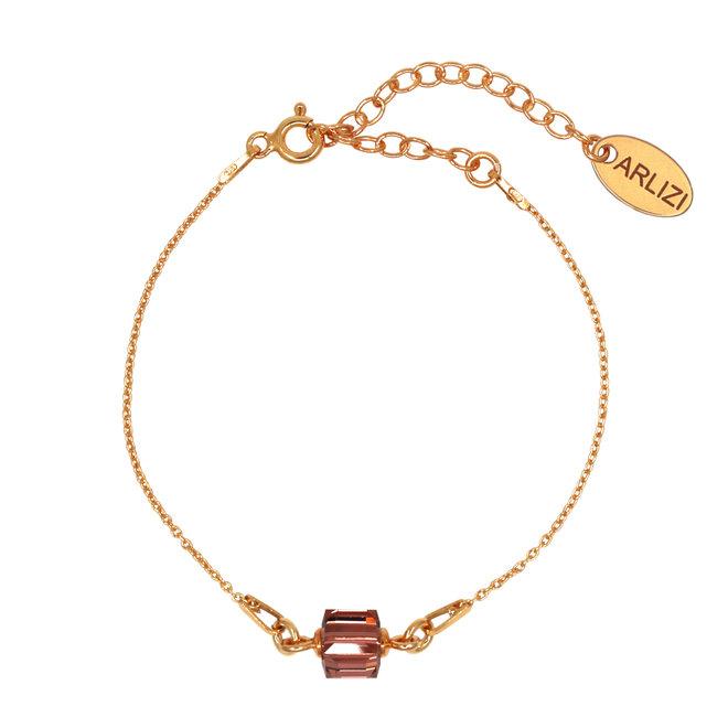 Armband Kristall Würfel 925 Silber rosévergoldet - 1951