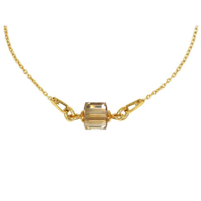 Halskette Kristall Würfel 925 Silber vergoldet - 1954