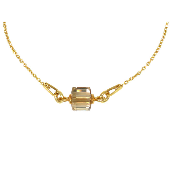 Halskette Swarovski Kristall Würfel Anhänger - Sterling Silber vergoldet - ARLIZI 1954 - Kyra