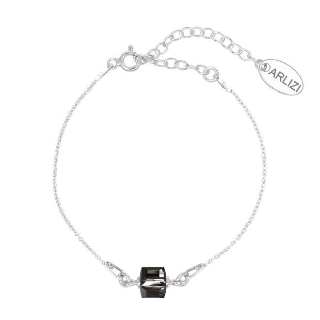 Armband Schwarz Kristall Würfel 925 Silber - 1957