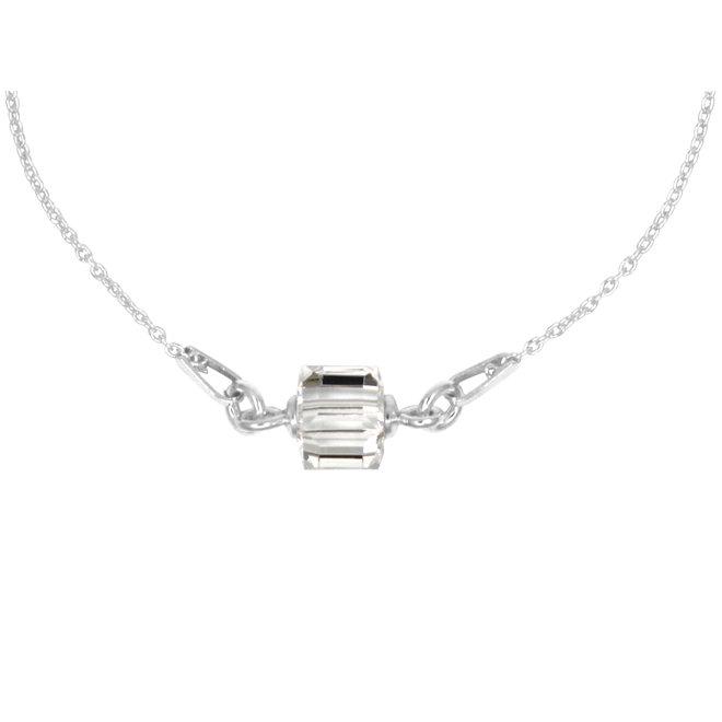 Ketting kristal kubus 925 zilver - 1958