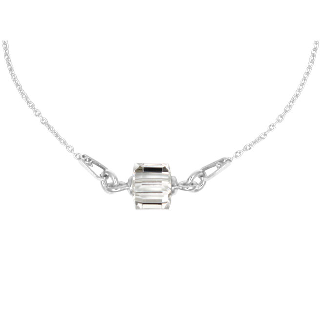 Ketting transparant Swarovski kristal kubus hanger - sterling zilver - ARLIZI 1958 - Kyra