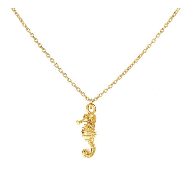 Halskette Seepferdchen Anhänger - Silber vergoldet - 1967