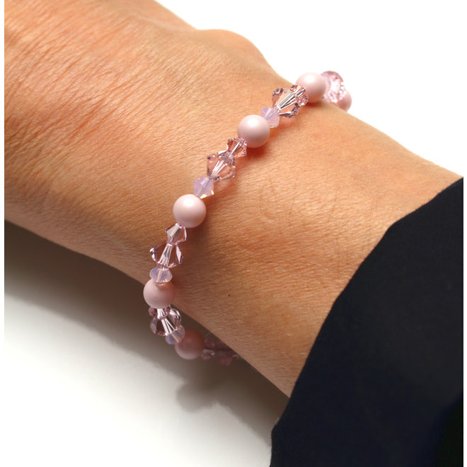 Armband Perle Swarovski Kristall rosa - Sterling Silber - ARLIZI 1949 - Grace