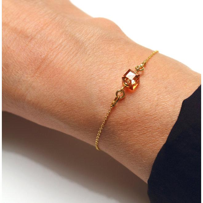 Armband Swarovski Kristall Würfel - Sterling Silber vergoldet - ARLIZI 1953 - Kyra