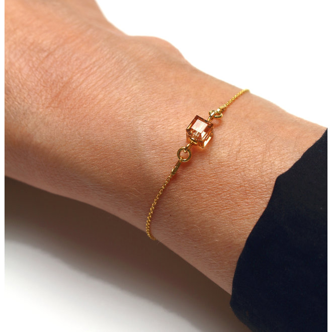 Armband Swarovski Kristall Würfel - Sterling Silber vergoldet - ARLIZI 1955 - Kyra