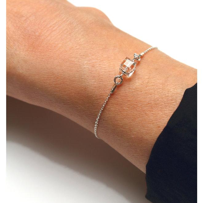 Armband transparant Swarovski kristal kubus - sterling zilver - ARLIZI 1959 - Kyra