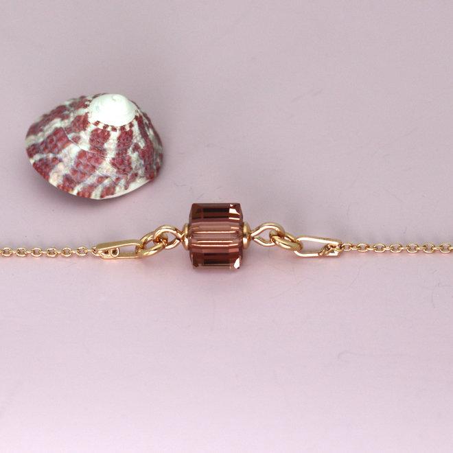 Armband roze Swarovski kristal kubus - sterling zilver rosé verguld - ARLIZI 1951 - Kyra